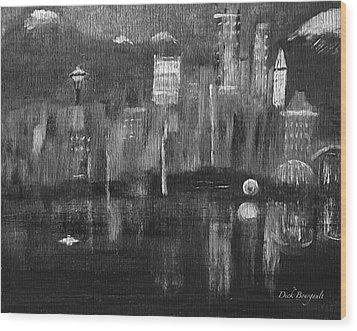 Seattle Black And White Wood Print