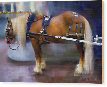 Wood Print featuring the digital art Seattle Carriage Horse by Kari Nanstad