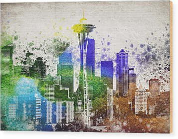 Seattle City Skyline Wood Print by Aged Pixel