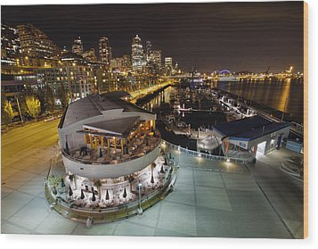 Wood Print featuring the photograph Seattle City Skyline And Marina At Night by JPLDesigns
