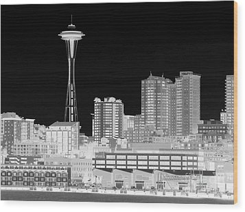 Seattle Cityscape - Bw Negative Wood Print by Connie Fox