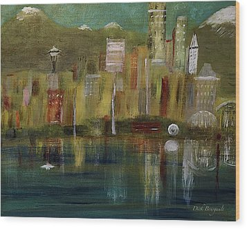 Seattle Cityscape Wood Print by Dick Bourgault