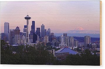 Seattle Dawning Wood Print by Chad Dutson