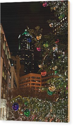 Seattle Downtown Christmas Time Art Prints Wood Print by Valerie Garner