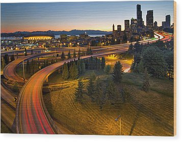Wood Print featuring the photograph Seattle Downtown Highway Traffic Light Trails by JPLDesigns