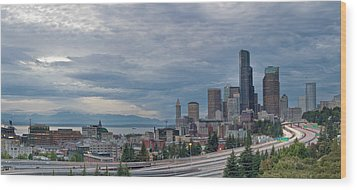 Wood Print featuring the photograph Seattle Downtown Skyline And Freeway Panorama by JPLDesigns