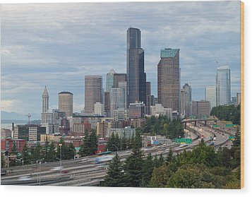 Wood Print featuring the photograph Seattle Downtown Skyline On A Cloudy Day by JPLDesigns