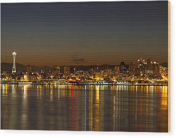 Wood Print featuring the photograph Seattle Downtown Skyline Reflection At Dawn by JPLDesigns