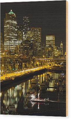 Wood Print featuring the photograph Seattle Downtown Waterfront Skyline At Night by JPLDesigns