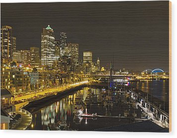 Wood Print featuring the photograph Seattle Downtown Waterfront Skyline At Night Reflection by JPLDesigns