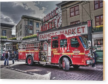 Seattle Fire Engine Wood Print