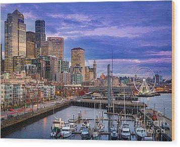 Seattle Great Wheel Wood Print by Inge Johnsson