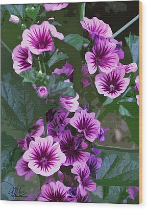 Seattle Hollyhocks Wood Print