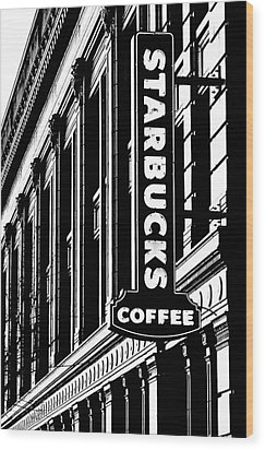 Seattle Icon Black And White Wood Print by Benjamin Yeager