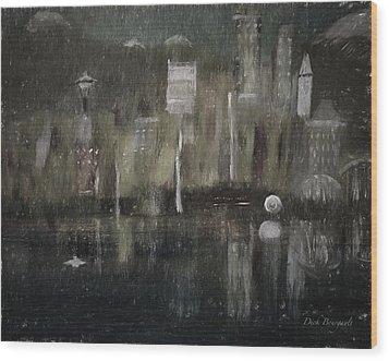 Seattle In The Rain Cityscape Wood Print