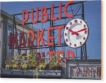 Seattle Market  Wood Print by Brian Jannsen