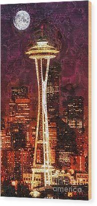 Seattle Wood Print by Mo T
