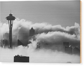 Seattle Fog Wood Print