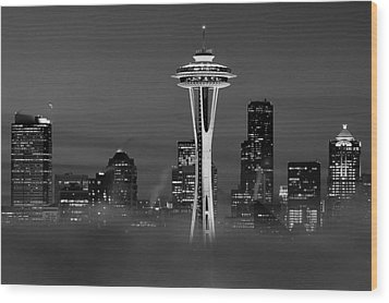 Seattle Morning Mist Black And White Wood Print by Benjamin Yeager