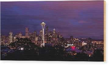 Seattle Night Wood Print by Chad Dutson