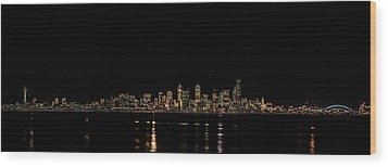 Seattle Panorama Wood Print by Brian Xavier