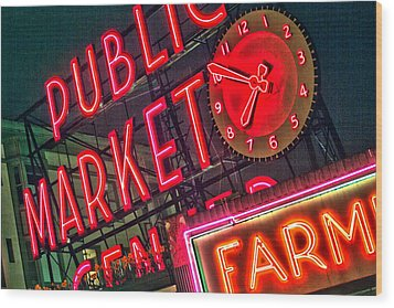 Seattle Pike Street Market Wood Print