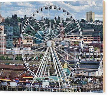 Seattle Port Ferris Wheel Wood Print by Gena Weiser