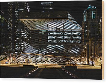 Seattle Public Library At Night Wood Print by Brian Xavier
