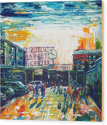 Seattle Public Market Center Wood Print by Suzanne King