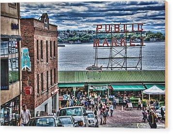 Seattle Public Market II Wood Print by Spencer McDonald