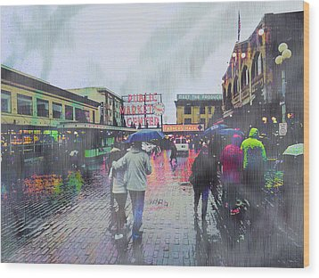 Seattle Public Market In Rain Wood Print
