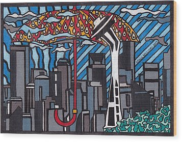 Seattle Rain Wood Print by Molly Williams