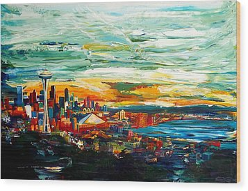 Seattle Sky Wood Print by Suzanne King