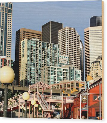 Seattle Skyline. Wood Print by Art Block Collections