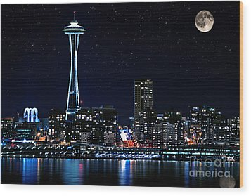 Seattle Skyline At Night With Full Moon Wood Print
