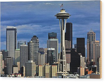 Seattle Skyline Wood Print by Benjamin Yeager