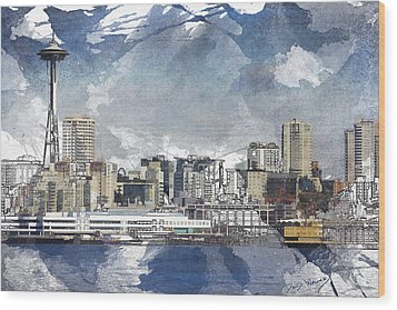 Seattle Skyline Freeform Wood Print