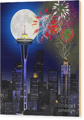 Seattle Skyline Wood Print by Methune Hively