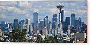Seattle Skyline Panorama Wood Print by Ricardo J Ruiz de Porras
