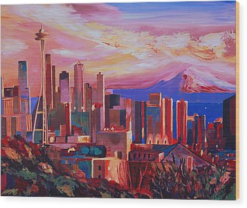 Seattle Skyline With Space Needle And Mt Rainier Wood Print by M Bleichner