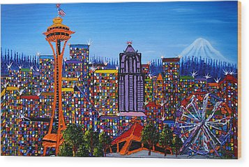 Seattle Space Needle #6 Wood Print by Portland Art Creations