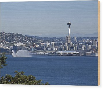 Seattle Space Needle And Fire Boat Wood Print by Ron Roberts