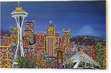 Seattle Space Needle At Dusk Wood Print by Portland Art Creations