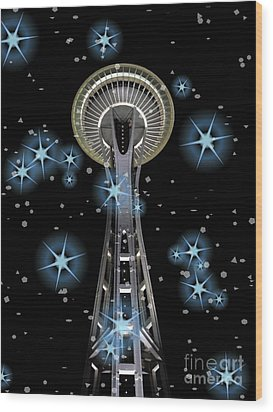 Wood Print featuring the digital art Seattle Space Needle Blue Stars by Chalet Roome-Rigdon