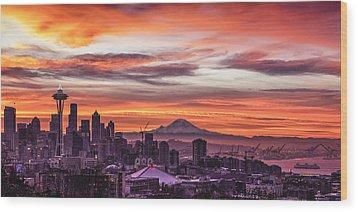 Seattle Sunrise Wood Print