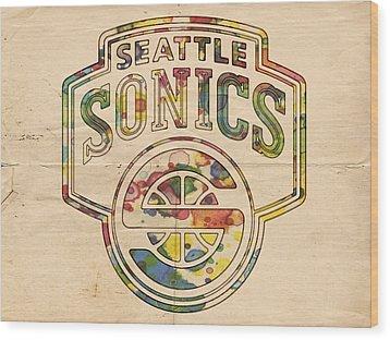 Seattle Supersonics Poster Art Wood Print by Florian Rodarte