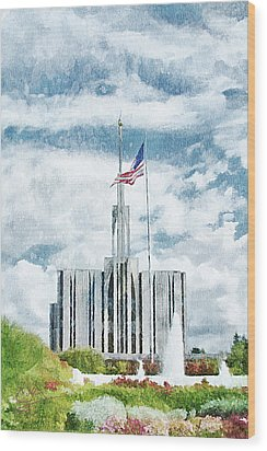 Seattle Temple 1 Wood Print by Greg Collins
