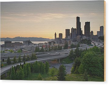 Wood Print featuring the photograph Seattle Washington Downtown City Sunset by JPLDesigns