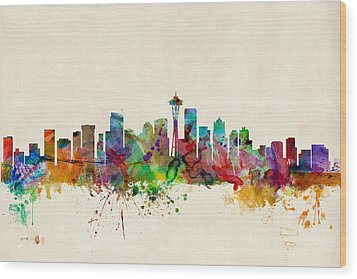 Seattle Washington Skyline Wood Print by Michael Tompsett