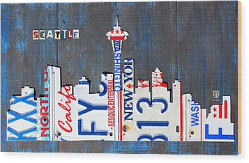 Seattle Washington Space Needle Skyline License Plate Art By Design Turnpike Wood Print by Design Turnpike